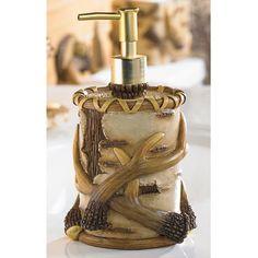 Deer Antler Cabin Lodge Soap Lotion Pump Dispenser New