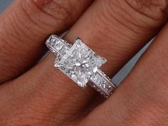2.15 Ct.tw. Princess Cut Diamond 14K White Gold Finish Women's Engagement Ring  #aonedesigns #SolitairewithAccents