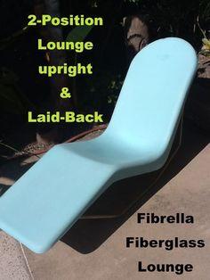 Vintage Mid Century Modern Fibrella Fiberglass Pool Patio Lounge Chair
