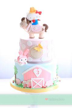 Bake-a-boo Hello Kitty Torta Hello Kitty, Hello Kitty Birthday Cake, Birthday Cake Girls, Pretty Cakes, Cute Cakes, Beautiful Cakes, Fantasy Cake, Girly Cakes, Farm Cake