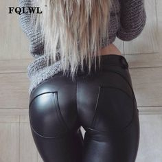 Black KouCla Leather Look Leggings With Skull Rivets Slim Fit