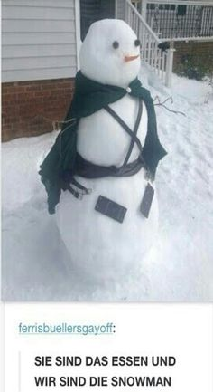 Idk what the caption says but this is an awesome snowman!