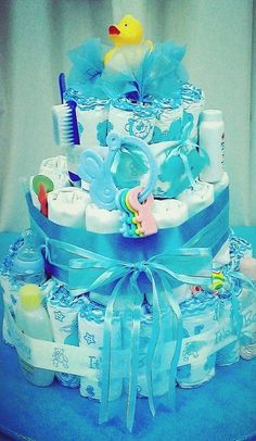 Diaper cake at a Teddy Bears and Duckies Baby Shower!  See more party ideas at CatchMyParty.com!