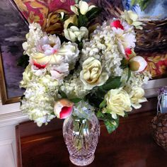 19 best silk flowers paul fenner floral design images on pinterest white silk flowers with a red accent to compliment the painting behind collaboration with andrew mightylinksfo