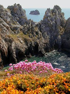 Rugged atlantic coast of Brittany, France