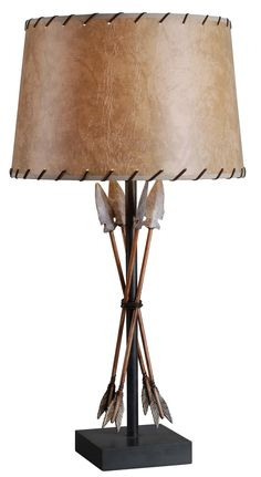 One Light Table Lamp Bound Arrow Finish Antique Wash
