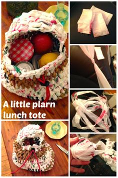 ReFab Diaries: Upcycle: Earth's greatest plarn lunch tote! : Make yarn from plastic bags + tie to make a bag.