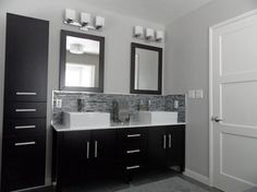 Black, Grey & White Bathroom - this is the color scheme for my bathroom project. Maybe the cabinet hardware too? Need an accent color Shower Remodel, Gray And White Bathroom, Modern Bathroom, Bathroom, White Bathroom, Slate Bathroom, Bathrooms Remodel, Bathroom Decor, Bathroom Inspiration