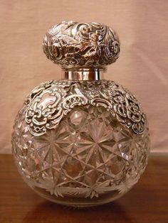 large cut glass and silver globe perfume/scent bottle Antique Perfume Bottles, Vintage Bottles, Perfumes Vintage, Beautiful Perfume, Bottles And Jars, Bottle Art, Cut Glass, Inspiration, Vintage Silver