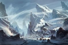 Anime picture with original tagme (artist) highres sky wind snow landscape mountain no people winter river rock castle Fantasy Art Landscapes, Fantasy Landscape, Landscape Art, Fantasy Concept Art, Fantasy Artwork, Environment Concept Art, Environment Design, High Fantasy, Fantasy World
