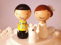 Choose Your Sports Theme Wedding Cake Topper -Pet Included- Kokeshi Sports Topper LA Lakers Custom Wedding Cake Topper-Personalized for You