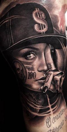 Hundred dolla bill life leg tattoos, body art tattoos, girl tattoos, dream tattoos G Tattoo, Tattoo Life, Money Tattoo, Sick Tattoo, Body Art Tattoos, Hand Tattoos, Tatoos, Gangster Tattoos, Chicano Tattoos Gangsters