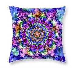 Tie Dye Mandala Throw PillowMandala Throw by PatLintnerFineArt