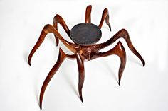 """handcarved spiders   Spider Table , 2009, black walnut wood, hand carved, 41"""" x 37"""" x 33"""""""