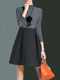 3/4 Sleeve A-line Turtleneck Elegant Plain Mini Dress With Necklace