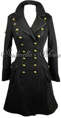 """Hell Bunny """"Imma"""" 1940's Military Corset Coat. Product info Condition New Colour Black Fastenings Buttons Fabric Wool effect 89 polyester 9 viscose 2 spandex Other details The incredible Hell"""