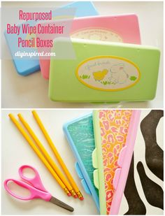 Repurposed Baby Wipe Container Pencil Boxes