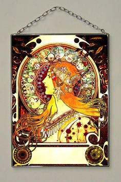 Alphonse Mucha Zodiac Stained Glass. by Bohemiaimage on Etsy