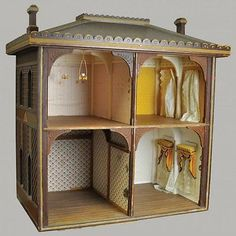 Four-room-wood-antique-open-large-doll-house