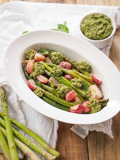 Roasted Asparagus and Radishes with Mint-Pea Pesto