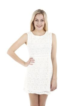 Floral Lace Shift Dress. A sleeveless shift dress in a feminine floral lace. The contrast waist creates further interest.