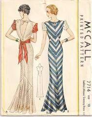 1930's McCall 7714 Evening Dress Pattern Bust 30