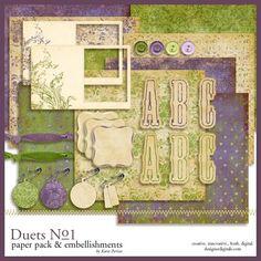 Duets No. 01 Kit - Digital Scrapbooking Kits DesignerDigitals