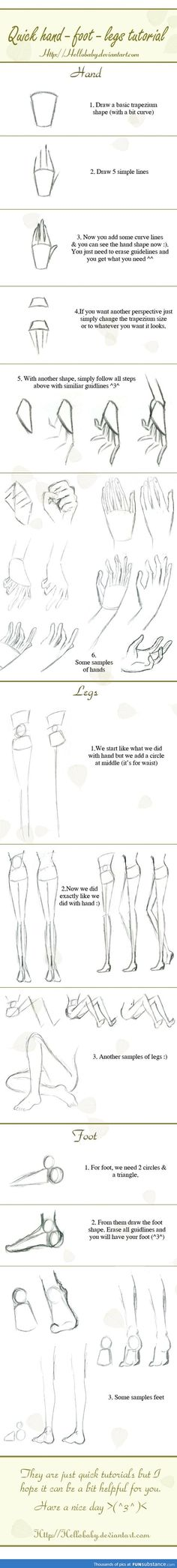 A quick hand-legs-foot drawing tutorial