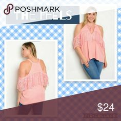 🆕️🎉CORAL PLUS SIZE TOP🎉 100% POLYESTER   PLUS SIZE TOP WITH COLD SHOULDERS AND A V-NECKLINE WITH A TIE AND LACE DETAIL. Tops