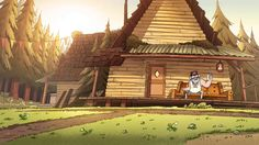 Image - back of shack. Gravity Falls Town, Gravity Falls Wiki, Zoom Wallpaper, Fall Wallpaper, Game Background Art, 3d Things, Oregon, Offshore Fishing, Drawing Faces