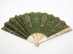 Antique Green Silk & Mother-Of-Pearl Fan W/ Gold & Silver Spangles & Paste Pins