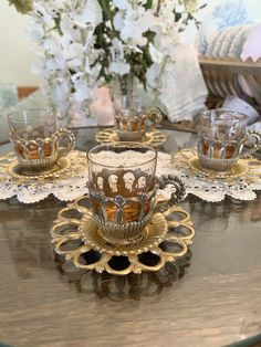 Set of 4 Arabic Ornate Metal and Glass Cups and Saucers - Stunning Collectable See Photo, Cup And Saucer, Cups, Table Decorations, This Or That Questions, Crystals, Antiques, Metal, Glass