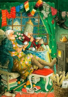 Groothandel Postkaarten van Inge Look number 40 Old Lady Humor, Whimsical Art, Getting Old, Old Women, Illustrators, Cool Art, Illustration Art, Old Things, Artsy