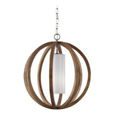 Feiss Lighting Feiss Lighting Allier Light Wood / Brushed Steel Pendant Light with Cylindrical Shade   F2953/1LW/BS   Destination Lighting