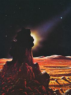 David Hardy - The Surface of Mercury (from The New Challenge of the Stars by Patrick Moore & David Hardy 1977)