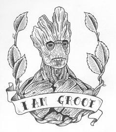 Chronic Ink Tattoo - Toronto Tattoo Groot from Guardians of the Galaxy sketch, done by Laurel.