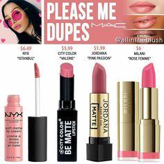 MAC Please Me Lipstick Dupes - more_make_up_pintennium Make Up Cosmetics, Mac Cosmetics Lipstick, Eyeshadow Dupes, Lipgloss, Lipsticks, Lipstick Mac, Nyx Dupes, Eyeshadow Ideas, Lipstick Swatches