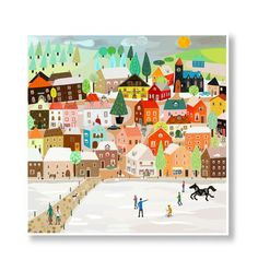 Orange+village+in+the+snow++digital+painting+by+SparklyWishes,+€17.50