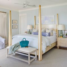 """All the color inspiration homeowner Elizabeth Mazyck and designer Erika Powell needed for the walls of this dreamy master bedroom came from the home's quiet Inlet Beach, Florida, locale. """"My favorite time of day here is sunset, and so often, it appears in Beach Cottage Style, Beach House Decor, Coastal Style, Coastal Decor, Home Decor, Coastal Living, Tropical Decor, Southern Living, Coastal Paint"""
