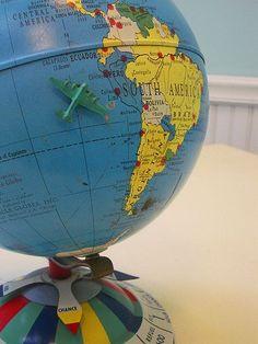 (via Fancy - 1952 Metal Magnetic Air Race Globe) Globe Art, Map Globe, Vintage Globe, Vintage Maps, Map Crafts, World Globes, Travel Themes, Handmade Soaps, Small World