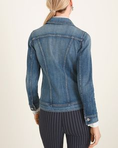 """Chic seven days of the week, every wardrobe needs a classic denim jacket—one that's as comfortable as it is versatile. Enter this wear-everywhere design, perfected with seam details, just-right stretch and pockets at the front and chest. We love it with pinstriped pants, over a maxi dress or with your favorite crops. Denim fabric with seam details. Classic fit with long sleeves, front pockets, chest pockets and button closure. Regular length: 24"""". Petite length: 23"""". Cotton, polyester and… Petite Denim Jacket, Denim Jacket Fashion, Denim Fabric, Long Sleeve, Sleeves, Cotton, Pants, How To Wear, Jackets"""