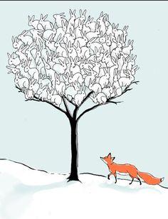 A bunny rabbit buffet fox in winter art.  :-)