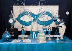 Masquerade Centerpiece Ideas   Masquerade Ball - Chevron Birthday Party - PRINTABLE Personalized ...