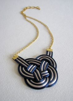 Navy and White Woven Necklace