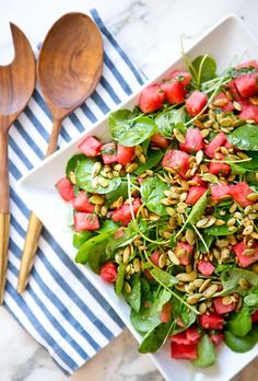 Watercress, watermelon + pepitas salad