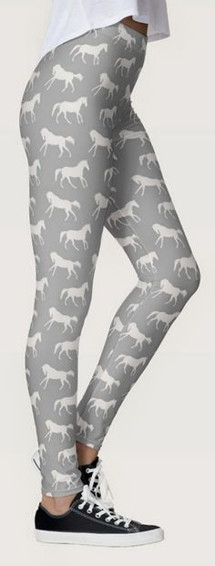 stylish gray horse pattern leggings - equestrian leggings pants with classy galloping horses all over stretchy, spandex leggings that don't lose their shape! great for the hunter jumper, dressage horseback riding cowgirl horse lover