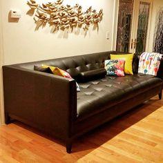 Black leather Stowe sofa. #leather #midcentury #midcenturymodern #livingroom #joybird #atomic