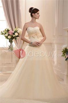 チャーミングなスイートハートストラップレス床まで届く長さチャペルウェディングドレス