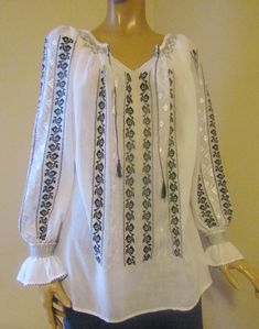 Hand stitched Romanian peasant blouse, ethnic top size M Folk Embroidery, Embroidery Patterns, Long Blouse, Black Blouse, Cotton Thread, Silk Thread, Palestinian Embroidery, Black Cotton, White Silk
