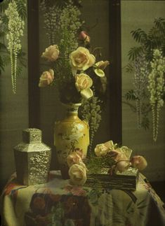 Charles Corbet. Still life with vase and roses. c.1910, autochrome 12 x 9